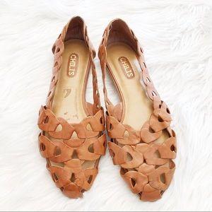 Vintage Tan Leather Plaited Flat Shoes Sz8.5